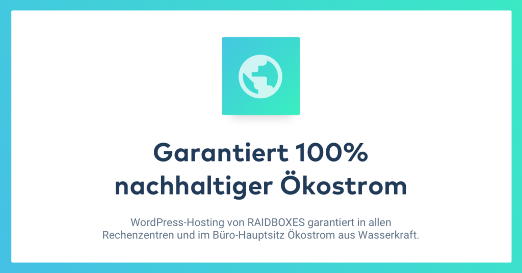 WordPress Hosting mit 100% Ökostrom