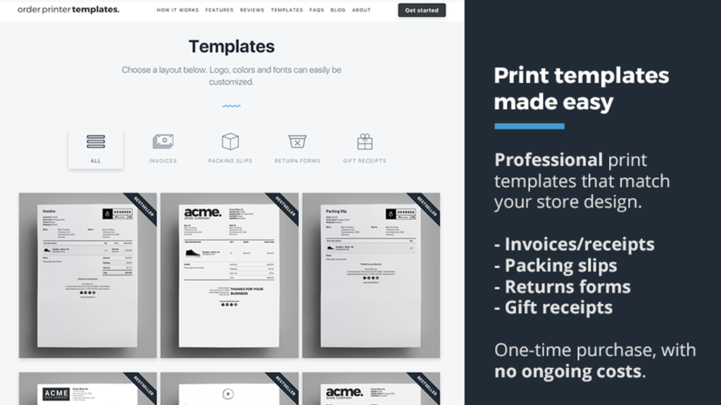 Example of Order Printer Templates